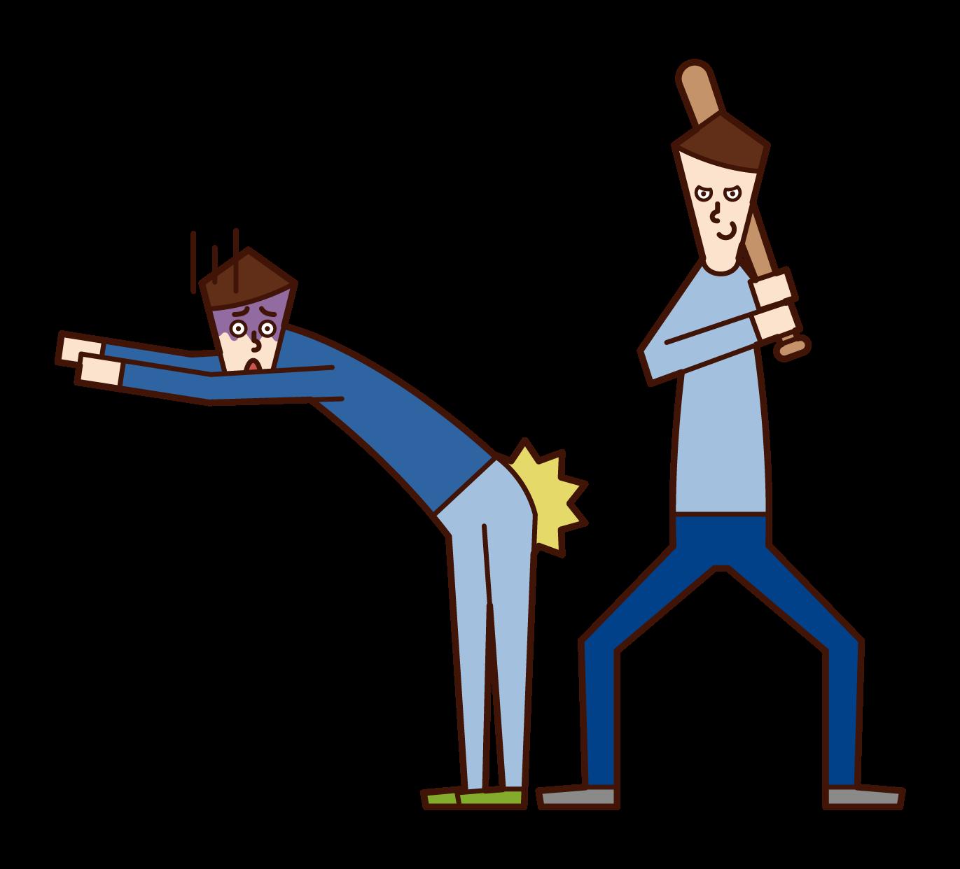 友達に体罰を与える人(男性)のイラスト