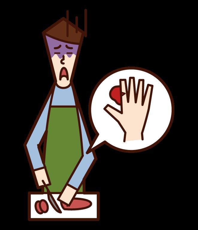 包丁で誤って指を切った人(男性)のイラスト
