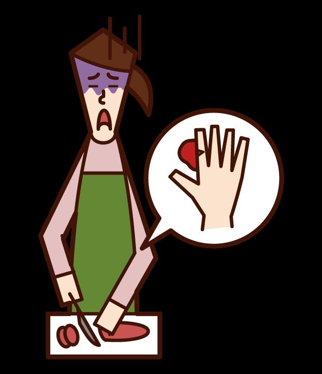 用菜刀不小心割傷手指的人(女性)的插圖