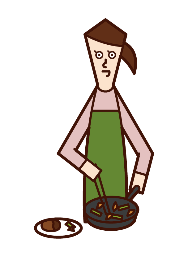Illustration of a woman who serves food on a plate
