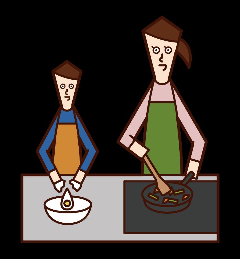 父母和孩子做飯的插圖