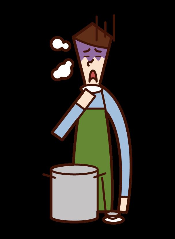 料理の味付けに失敗した人(男性)のイラスト