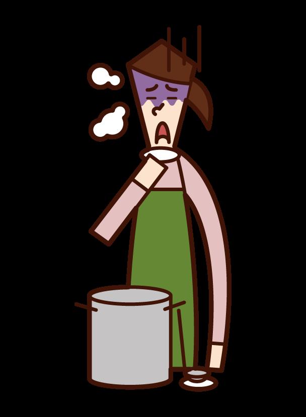 料理の味付けに失敗した人(女性)のイラスト
