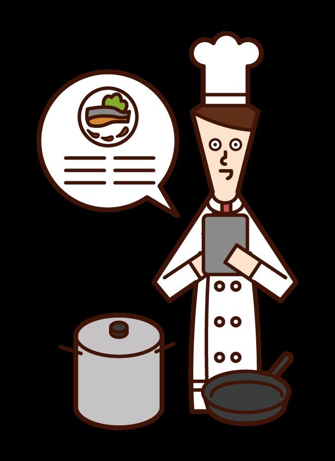 요리사 (남성)는 태블릿에서 조리법의 그림을 볼 수 있습니다