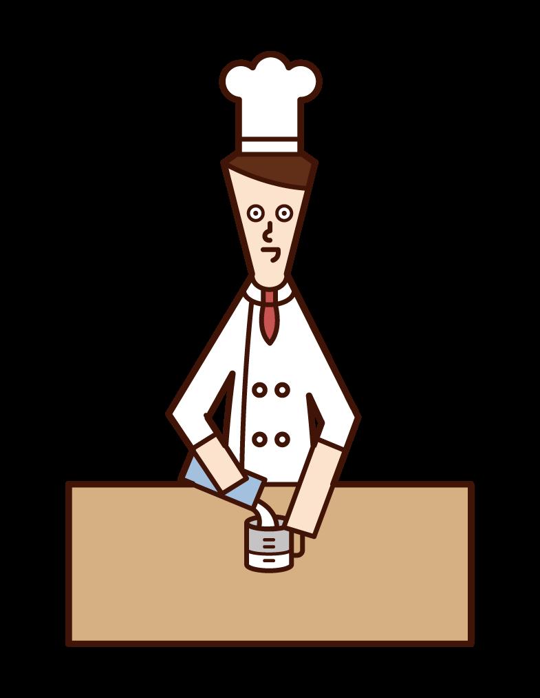 牛乳の量を計るシェフ(男性)のイラスト