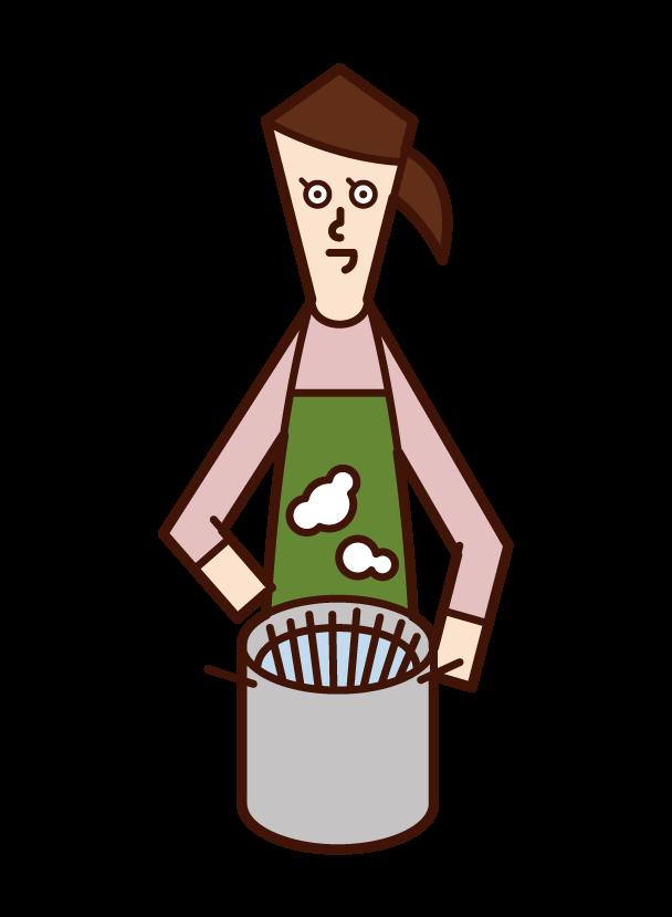 パスタを茹でる人(女性)のイラスト