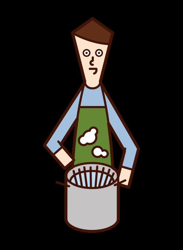 パスタを茹でる人(男性)のイラスト