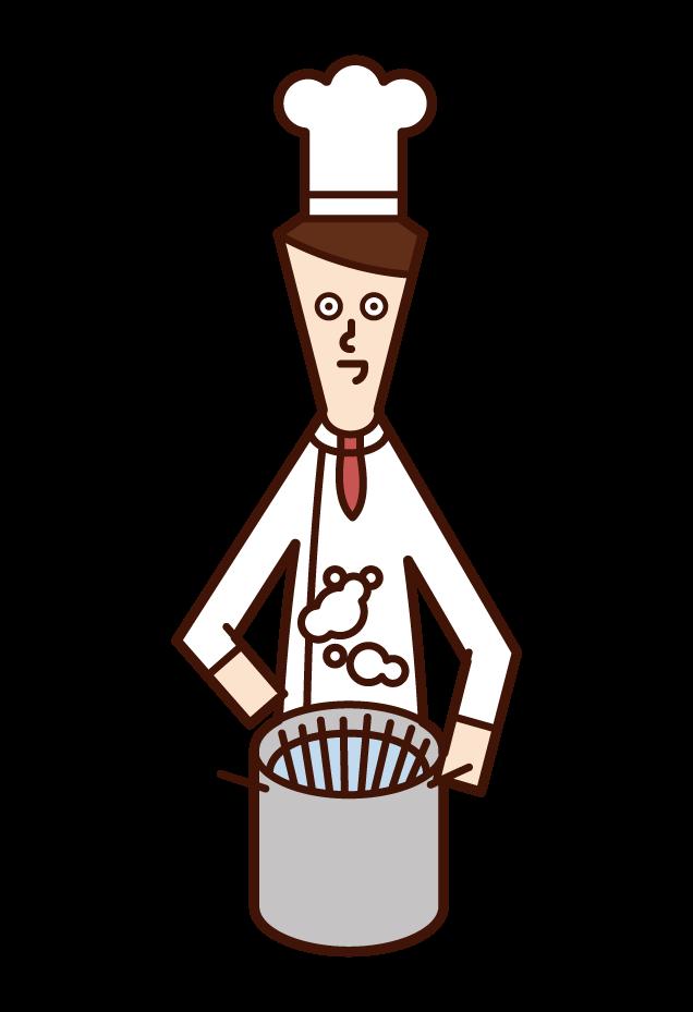 パスタを茹でるシェフ(男性)のイラスト