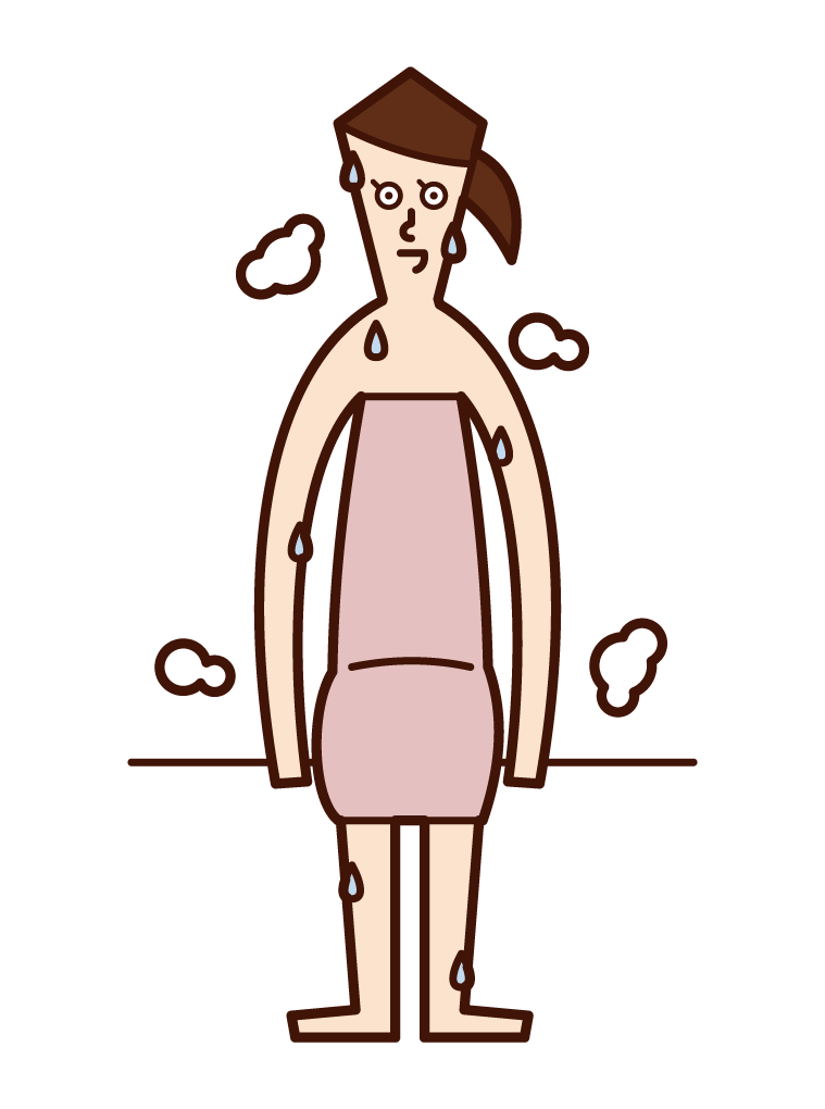 Illustration of a woman sweating in a sauna