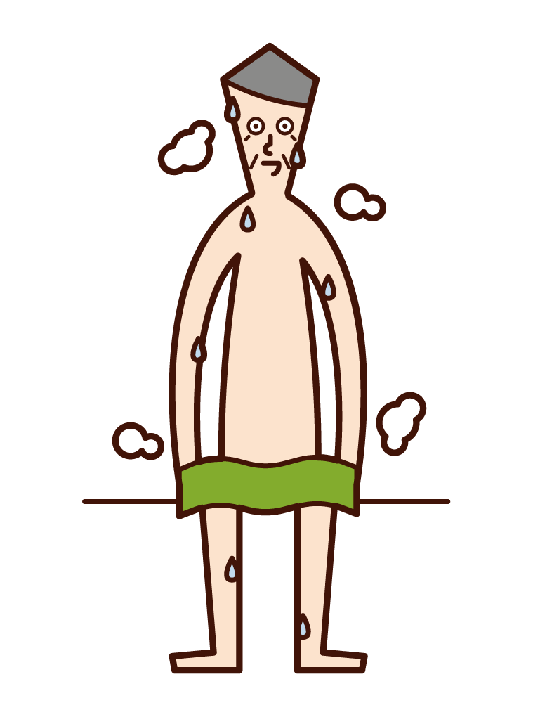Illustration of a person (old man) sweating in a sauna