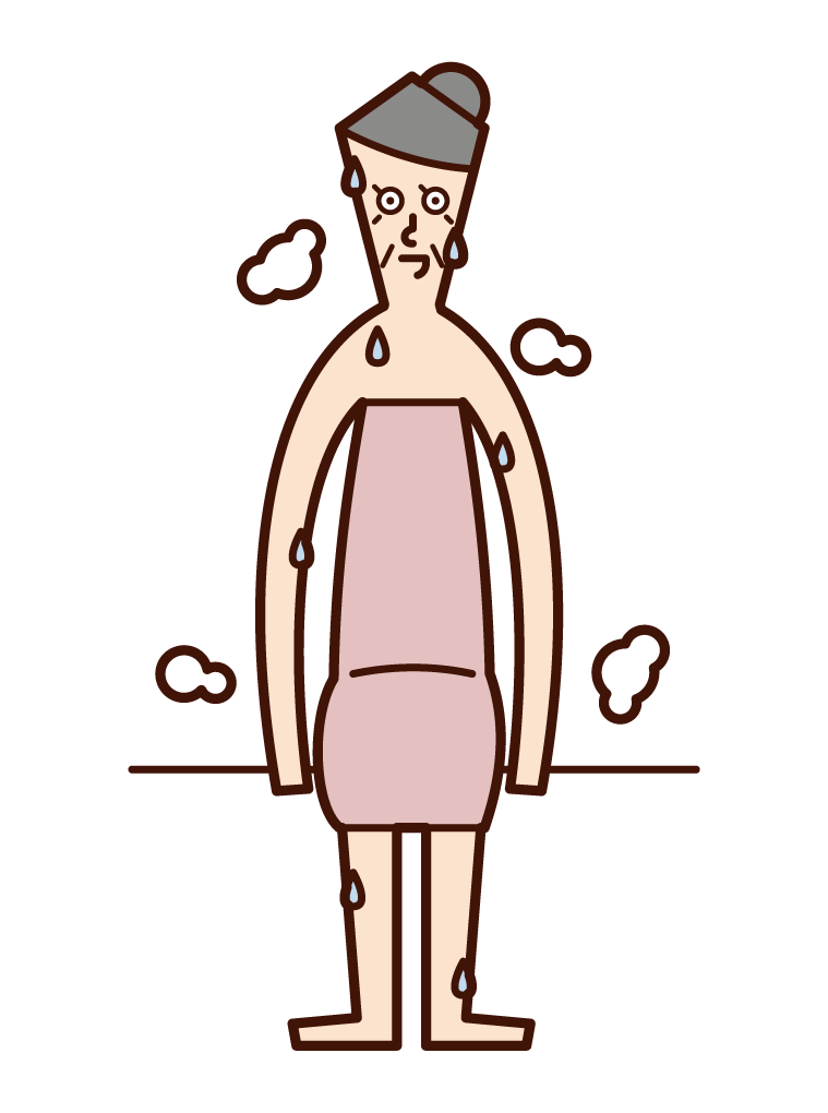 Illustration of an old man sweating in a sauna