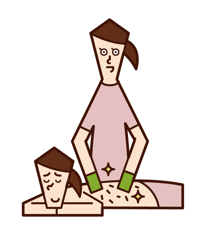 Illustration of a woman who has her scalydes