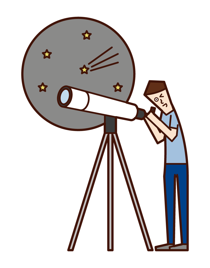 Illustration of a child (boy) observing the starry sky with a telescope