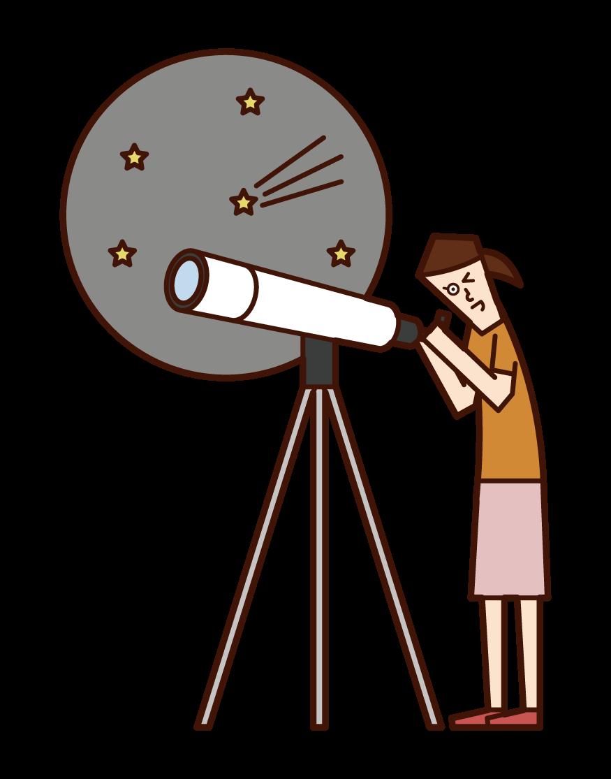 用望遠鏡觀察星空的兒童(女孩)插圖