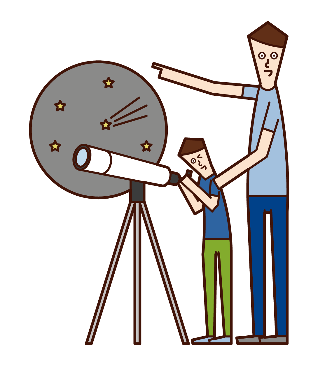 Illustration of parent and child observing the starry sky with a telescope