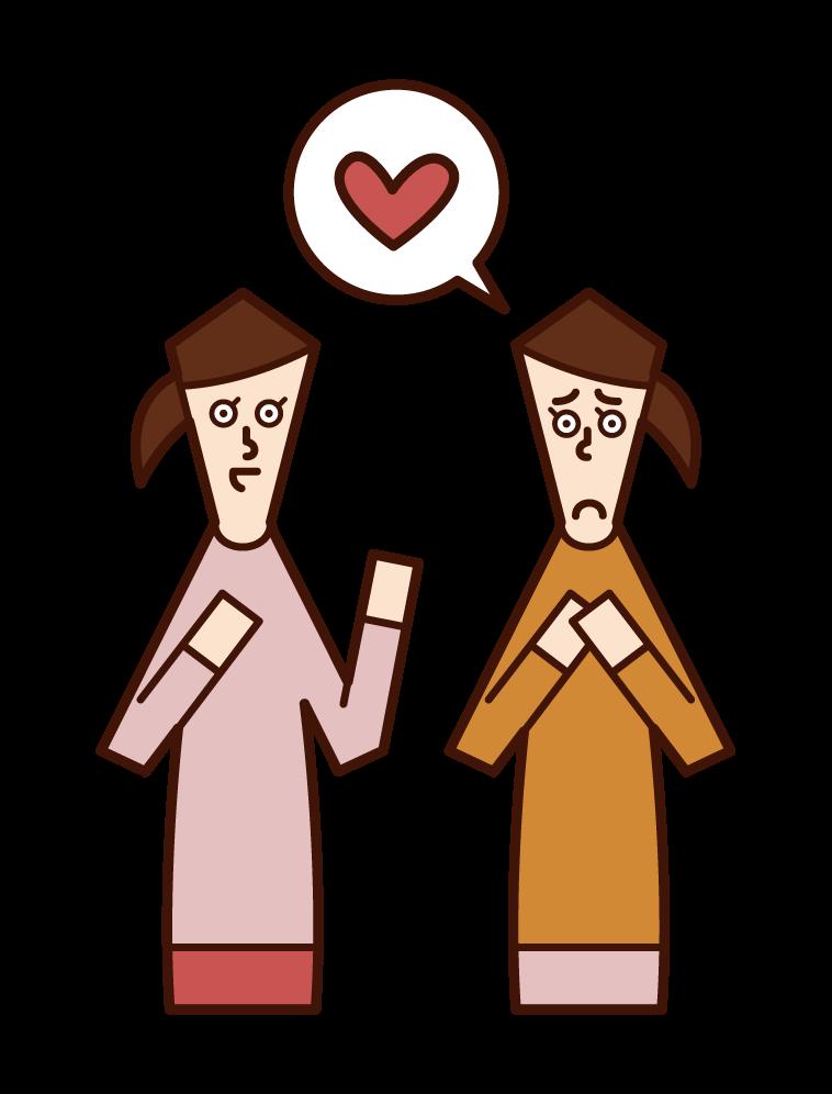 提供愛情諮詢的人(女性)的插圖