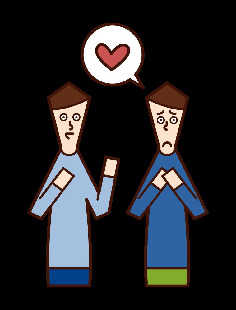 提供愛情諮詢的人(男性)的插圖