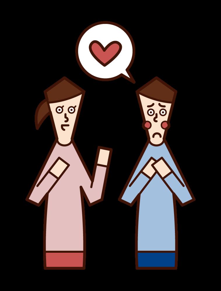 一個有單戀愛的人(男人)的插圖