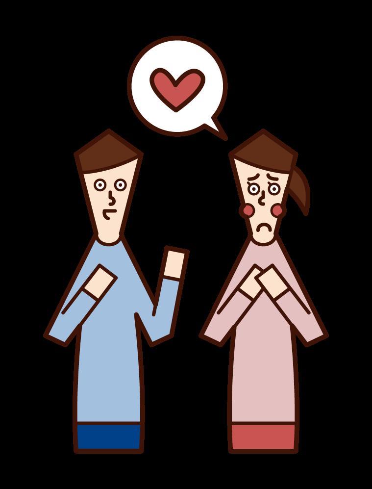一個有單戀愛的人(女人)的插圖