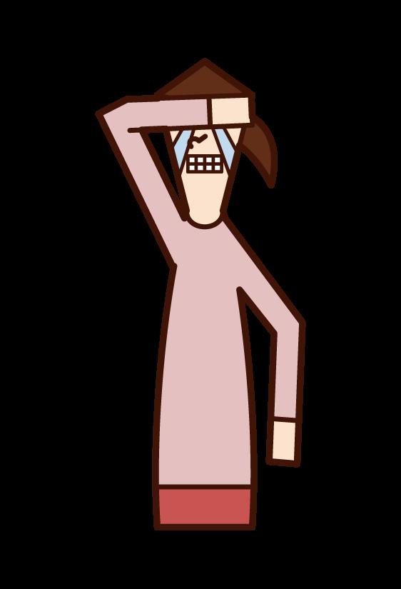 悔しくて泣く人(女性)のイラスト