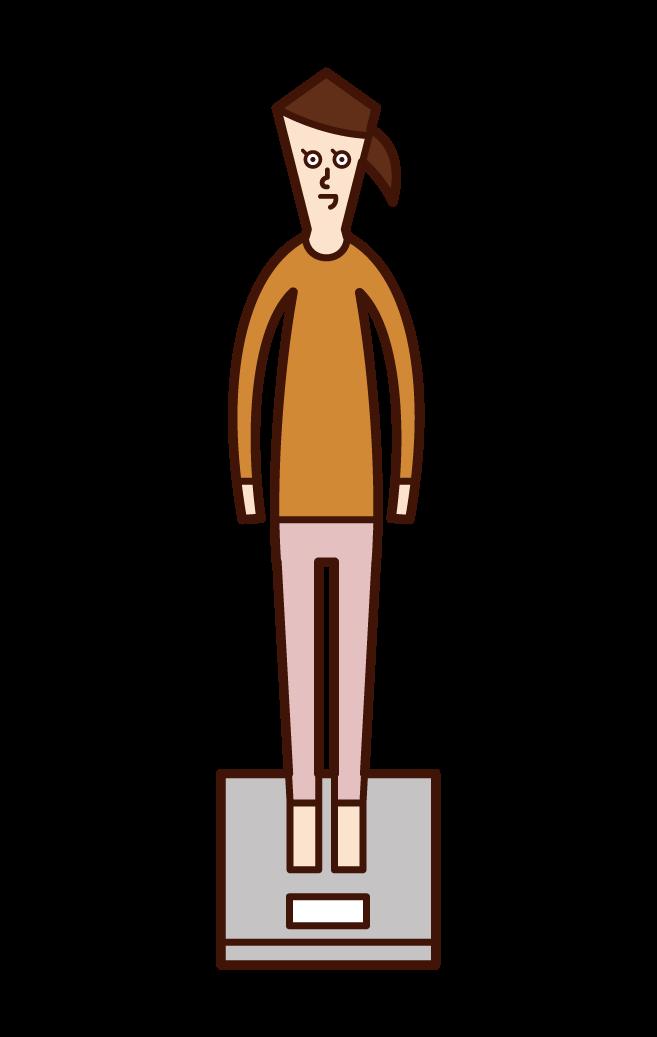 測量體重的兒童(女孩)的插圖