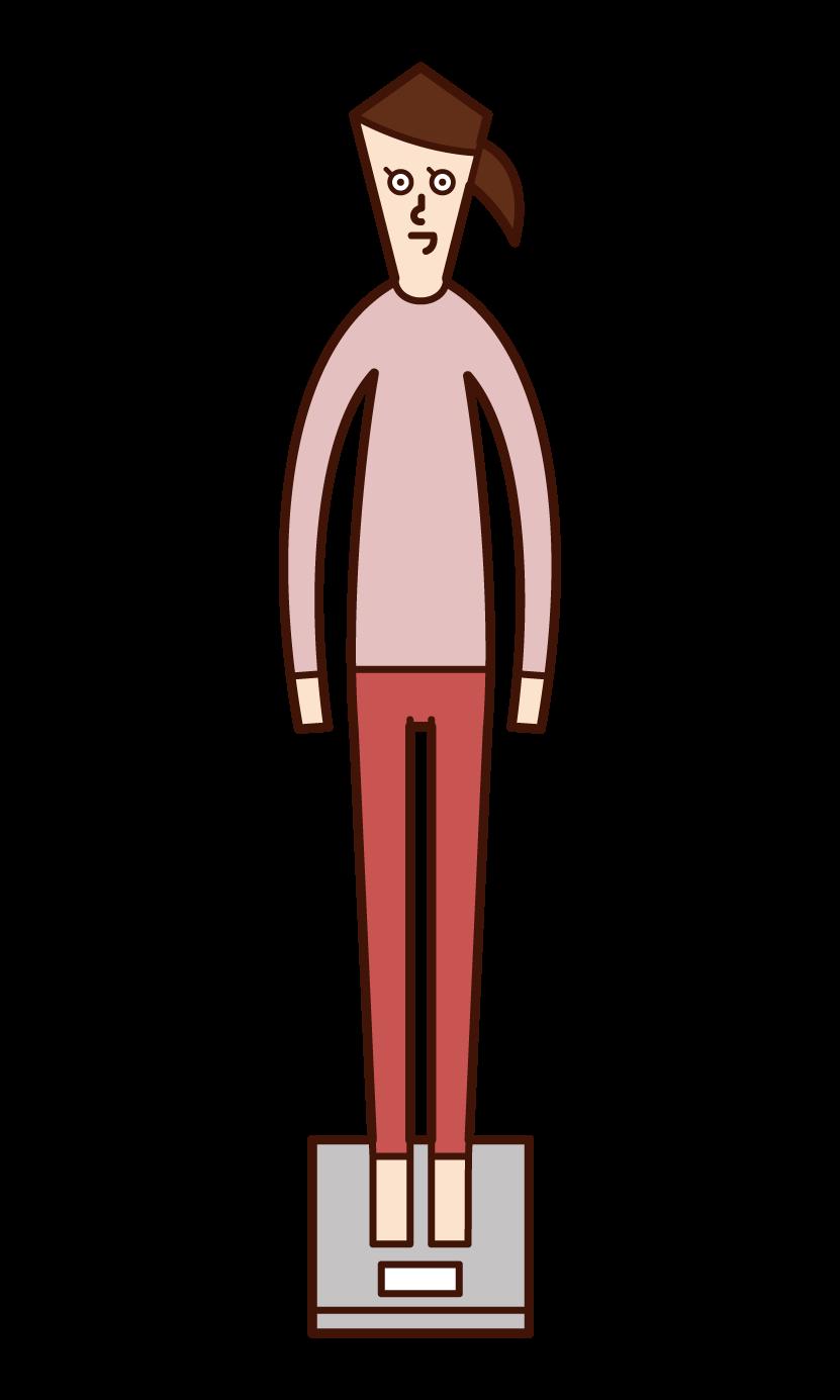 測量體重的人(女性)的插圖
