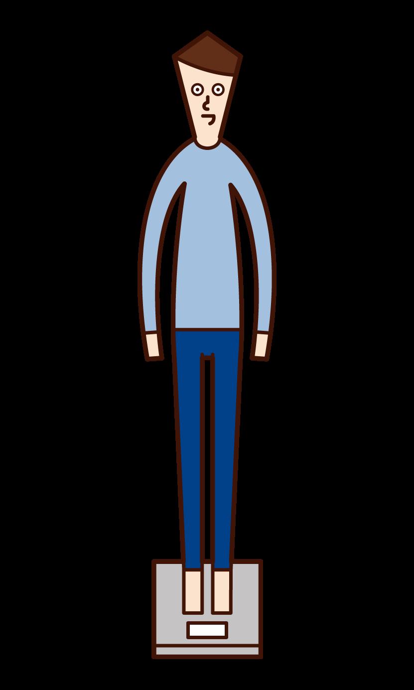 測量體重的人(男性)的插圖