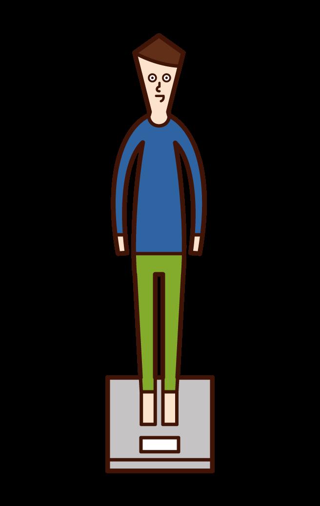 測量體重的兒童(男孩)的插圖