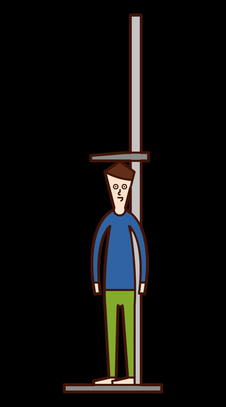 測量身高的兒童(男孩)插圖