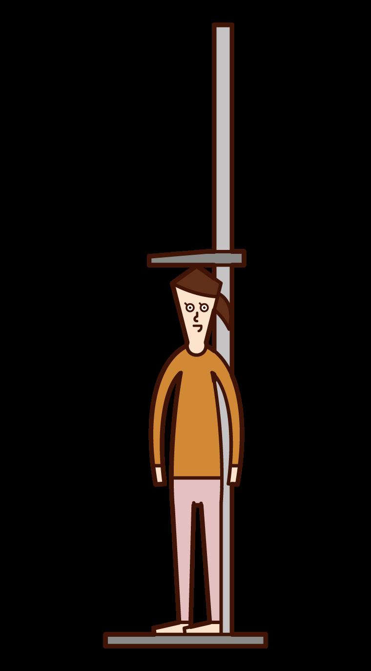 測量身高的兒童(女孩)的插圖