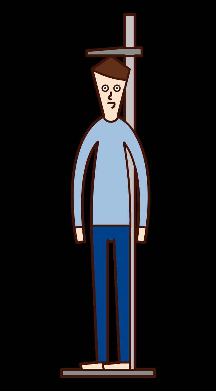 測量身高的人(男性)的插圖
