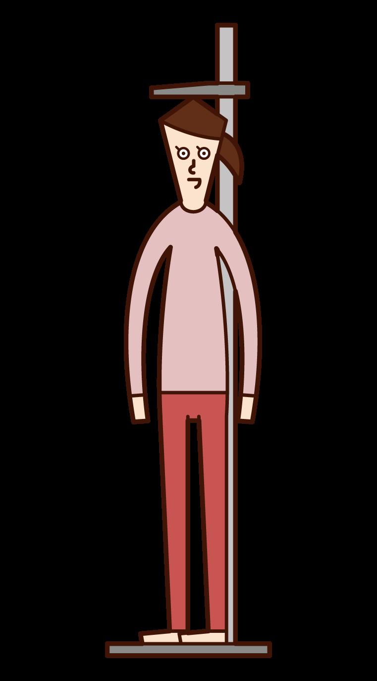 測量身高的人(女性)的插圖