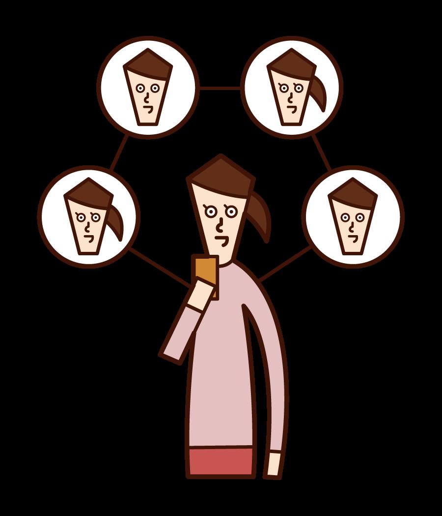 SNS 관계(여성)의 일러스트