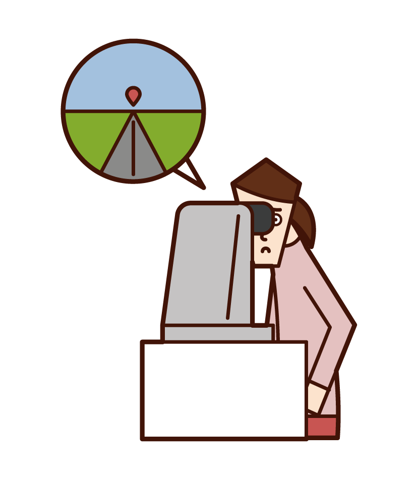 Illustration of a woman who undergoes a vision test with an automatic sight meter
