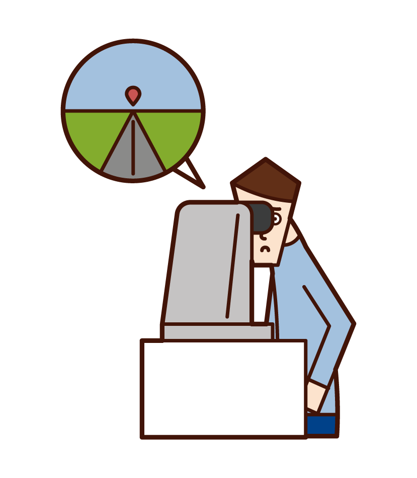 Illustration of a man who undergoes a vision test with an automatic sight meter