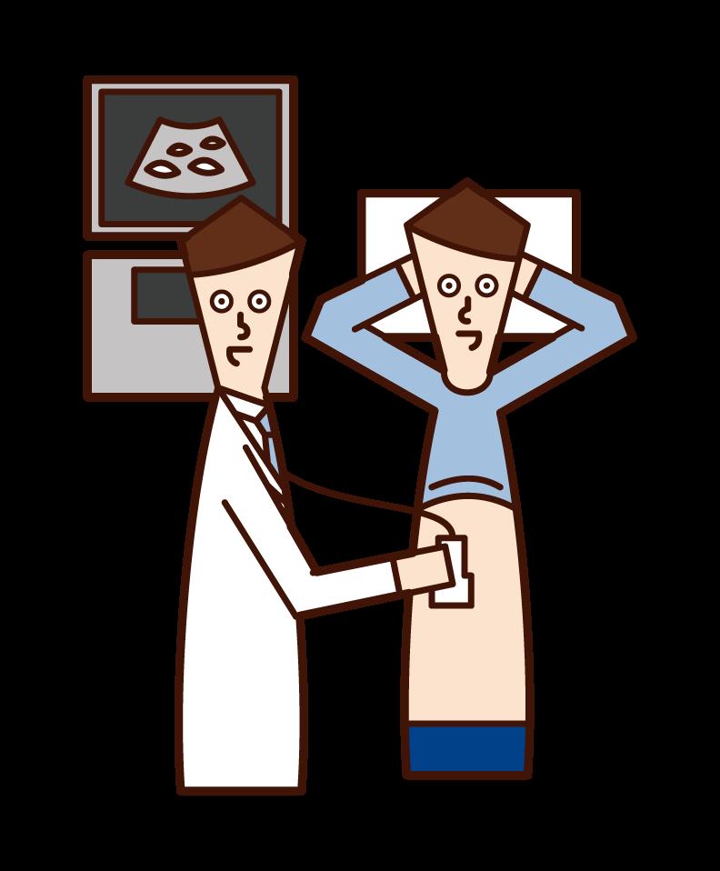 腹部超音波検査(腹部エコー )を受ける人(男性)のイラスト