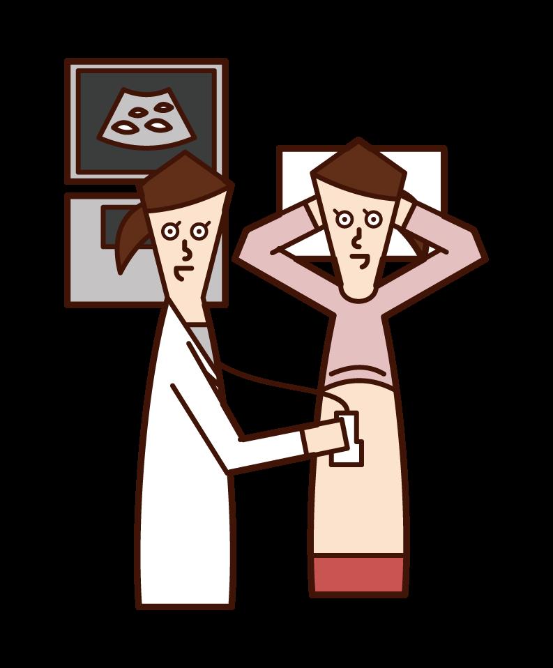 腹部超音波検査(腹部エコー )を受ける人(女性)のイラスト