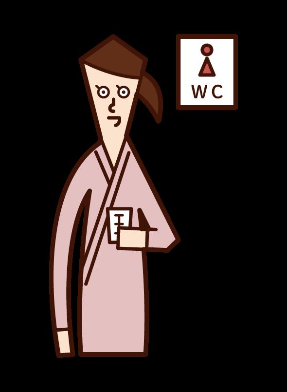 소변 검사를받는 사람 (여성)의 그림