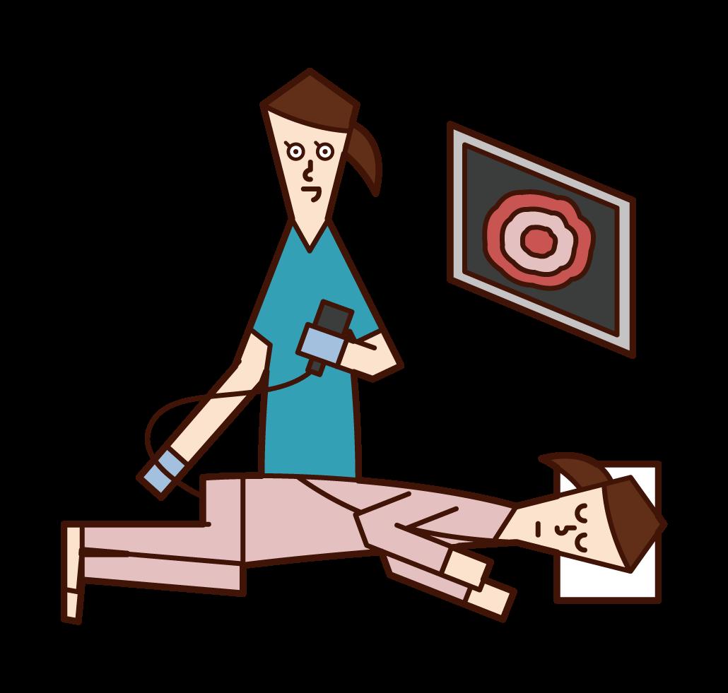 大腸内視鏡検査・大腸癌検査を受ける人(女性)のイラスト
