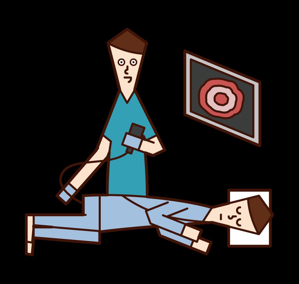 大腸内視鏡検査・大腸癌検査を受ける人(男性)のイラスト