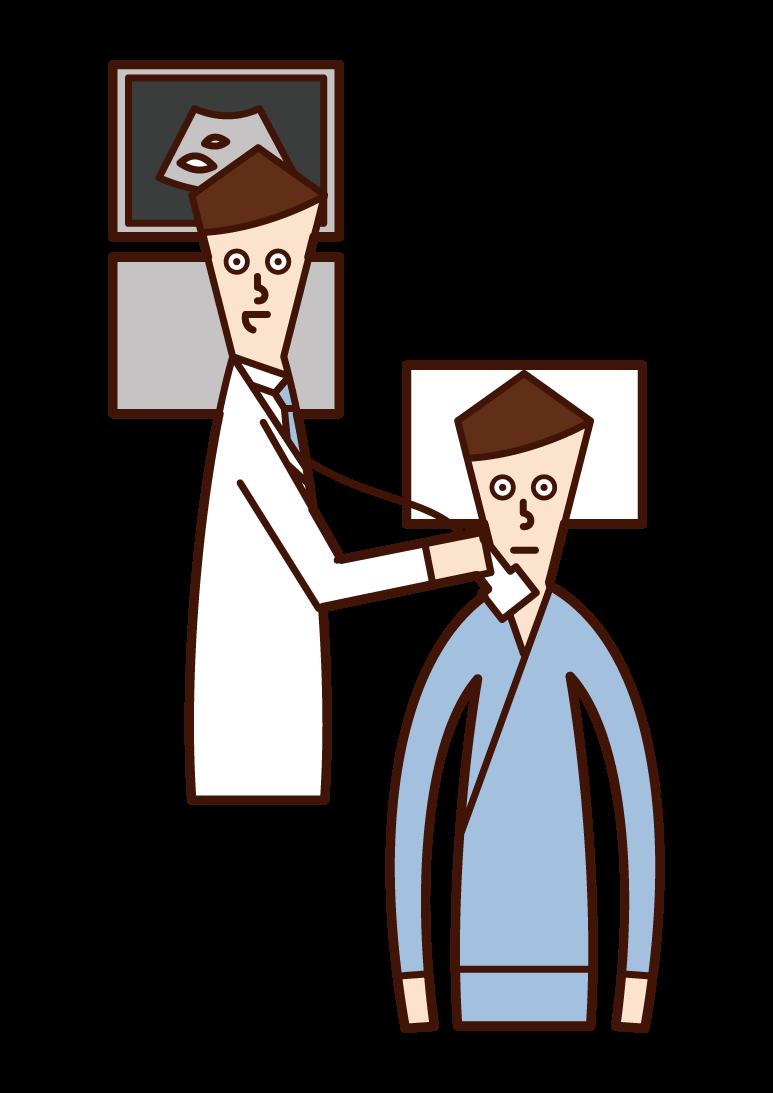 경동맥 에코 검사를 받은 사람(남성)의 그림