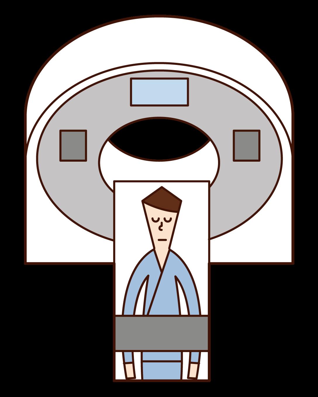 CT 및 PET 테스트를 받은 사람(남성)의 그림입니다