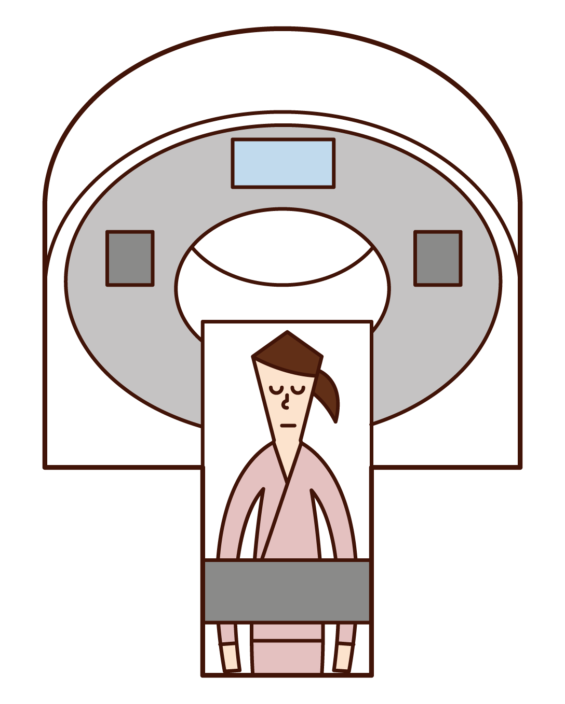 CT 및 PET 테스트를 받은 사람(여성)의 그림입니다