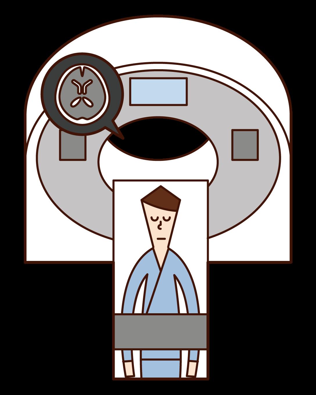 MRI 및 CT 검사를 받은 사람(남성)의 그림입니다