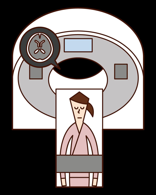 MRI 및 CT 검사를 받은 사람(여성)의 그림입니다