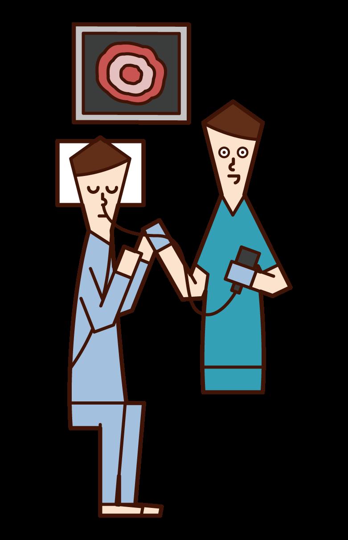 内視鏡検査(胃カメラ)を受ける人(男性)のイラスト