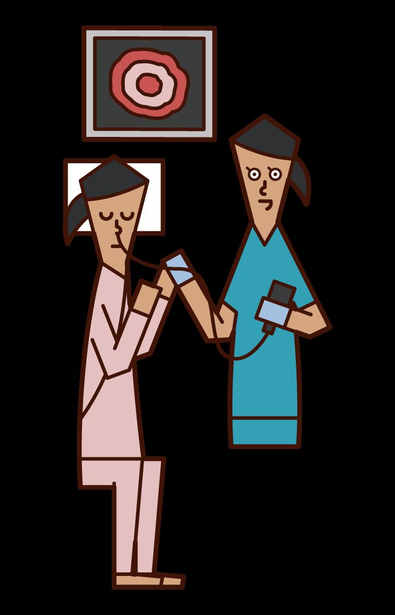 내시경 (위 내시경)을받는 사람 (여성)의 그림