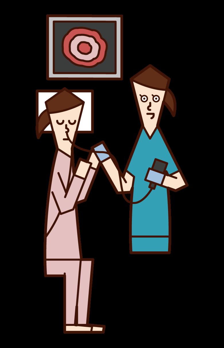 内視鏡検査(胃カメラ)を受ける人(女性)のイラスト