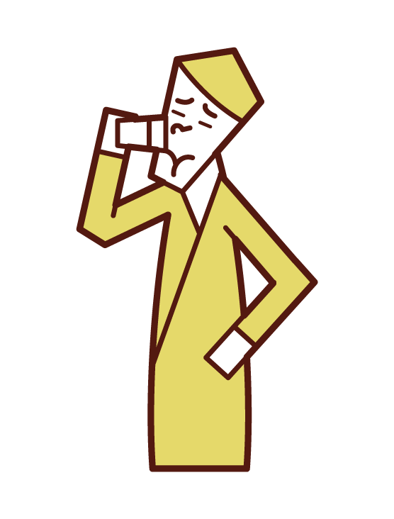 Illustration of a man who drinks Valium painfully