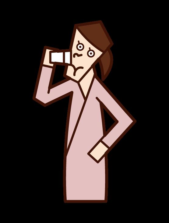 마시는 사람 (여성)의 그림